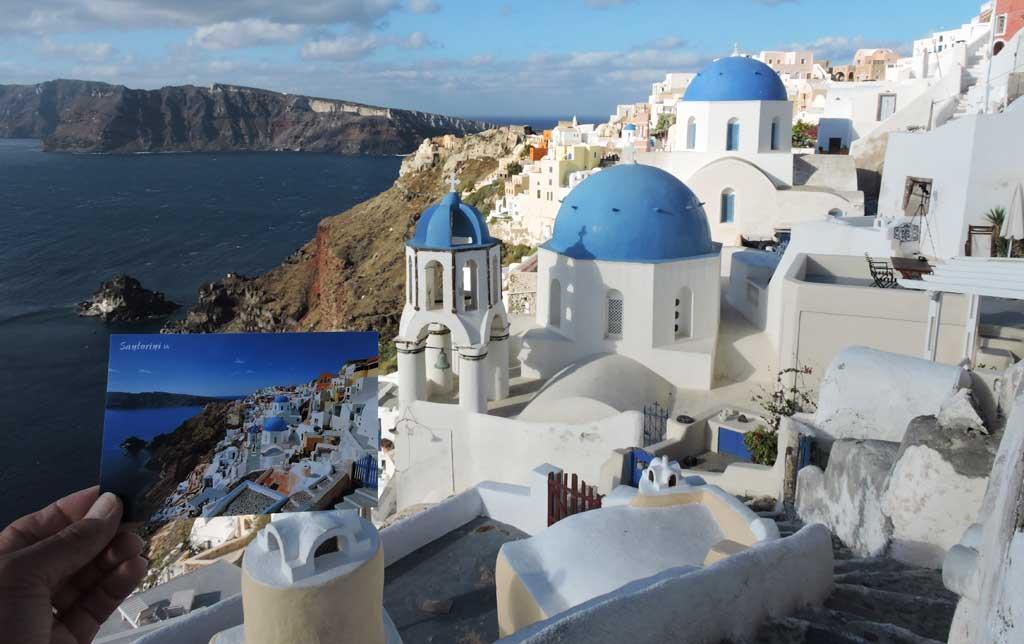 Santorini, Greece - notice the postcard on the bottom left