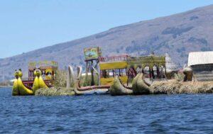 Floating cities on Lake Titicaca, Peru