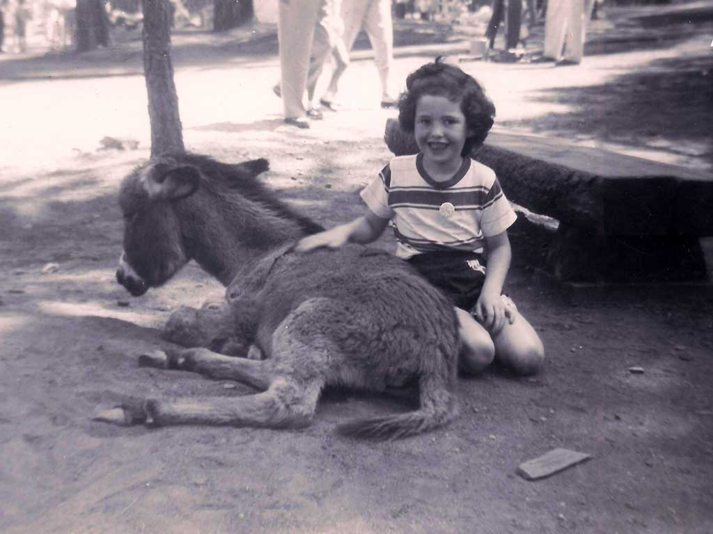 Laura with donkey at Santa's Village